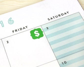 Dollar Sign Planner Stickers, 48 Money Bill Bank Reminder Tracking Icons, pay day, allowance, 2018 eclp colors, custom colors, neutral