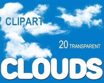 Digital Clouds Clipart, 20 transparent png, printable, Instant Download, clip 30