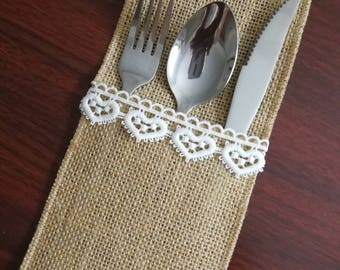 Set of 10-Wedding Table Set,Burlap Silverware Holder,Wedding Rustic Menu,Burlap table decoration,Rustic table decor, Table Setting- (PY)04