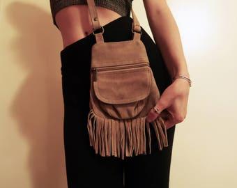 Small tan suede crossbody bag / festival cross body purse / Small crossbody adventure bag / Boho crossbody / bohemian cross body purse
