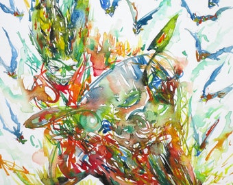 MOTOR DEMON with BATS - original watercolor painting - one of a kind!