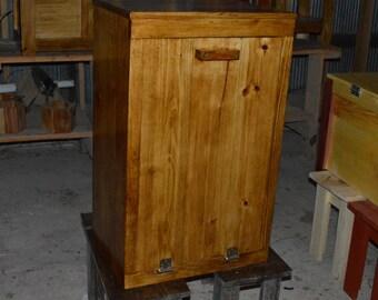 wood trash bin cabinet, tilt out trash bin