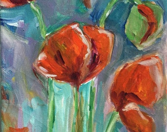 Abstract floral painting red poppy Flower Art shabby chic home decor  flower garden  expressionism boho farmhouse style