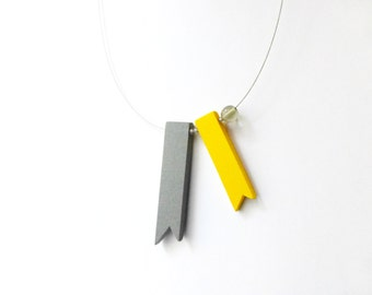 geometric minimal grey and yellow ribbons necklace , contemporary jewelry