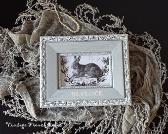 Frame French 'De France' Ornate Chippy Gray & White 7X9 Baby Nursery Romantic Wedding Shabby Chic French Country Farmhouse Style Decor