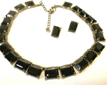 Swarovski Signed Necklace & Earrings with Black Ice-Cube Crystals on Gunmetal