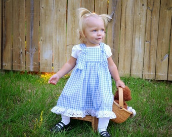 Ready to Ship Dorothy Halloween Party Costume, Blue Gingham Knot Dress - Girls sizes 6-12 months, 4