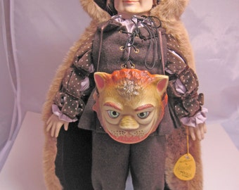 """Beast Doll from Beauty and the Beast set by Faith Wick for Elegante Dolls by Dakin 15"""" tall with Stand"""