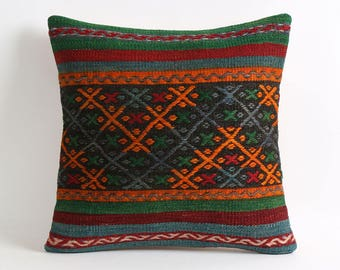 Kilim pillow cover, Striped tribal kilim pillow 16x16 handmade decorative kilim pillow cover