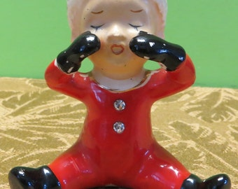 Hand Painted 1950's Red Christmas Crying Elf Baby Pixie Made In Japan Figurine - Free Shipping