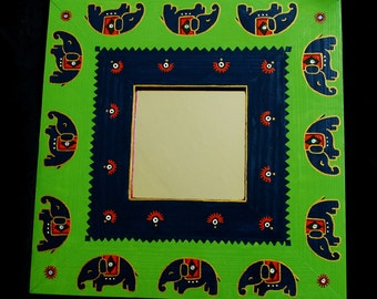 Painted Wooden Mirror Frame - Trail of Elephants