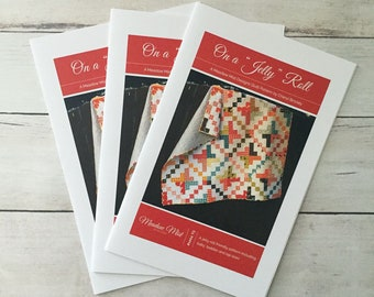 "On a ""Jelly Roll - Printed Quilt Pattern- Baby Quit - Toddler Quilt - Lap Quilt - Jelly Roll Pattern -Easy Quilt Pattern"