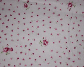 Yuwa Pink Rose Cotton Fabric Tiny Pink Roses on Pink CR819073