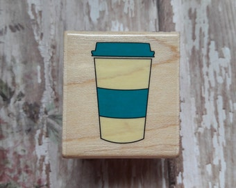 To Go Coffee Cup Wood Mounted Rubber Stamp Scrapbooking & Paper Craft Supplies