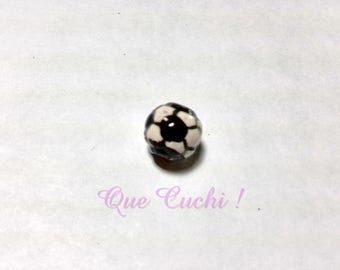 By the Peruvian hand painted ceramic football bead