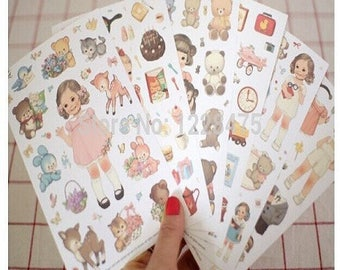 6 sheets of stickers retro, vintage style of 107 * 165mm