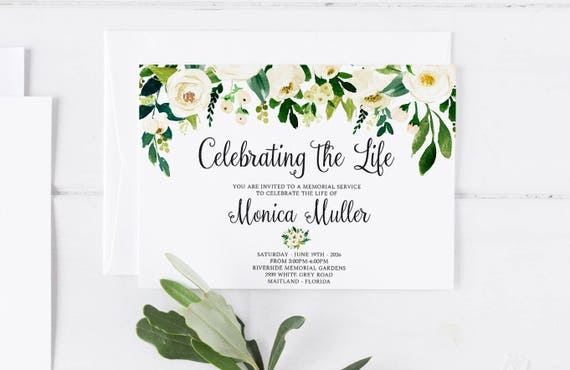 White Floral Greenery Funeral Announcement Invitation Mourning