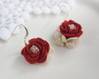 Red rose crochet stud earrings - beads dangle earrings - bridesmaid jewelry gift - wedding jewelry - gift for mom
