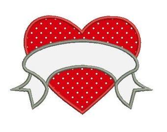 heart banner applique embroidery design