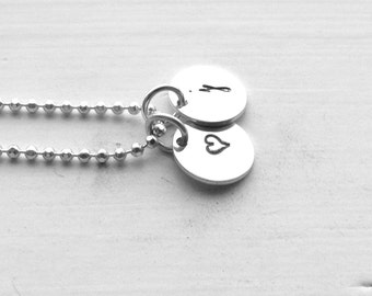 Tiny Letter j Necklace, Sterling Silver Initial Necklace, Heart Necklace, Charm Necklace, Initial Jewelry, Personalized Jewelry, j, Heart