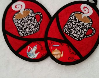 Coffee Pot Holders, Tea Lover, Coffee Lover, Red And Black Kitchen, Hot Pads, Oven Mitts, Pocket Potholders