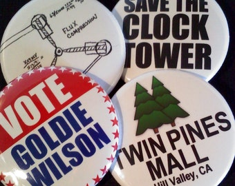 """1.5"""" Buttons OR Magnets-Back to the Future Inspired, Set of 4"""
