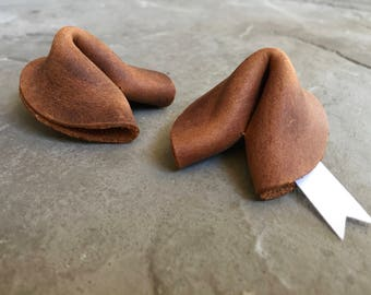 Handmade leather fortune cookie