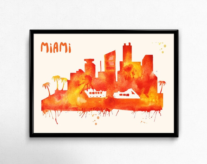 Miami Skyline Watercolor Poster - Cityscape Painting Artwork - Art Print, Multiple Sizes - 10x8 to 36x24 - Watercolor Painting Style