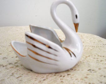 Vintage China Swan, Ring dish,trinket dish, dresser dish,catchall swan,Old dime store china swan from Woolworth with original sticker