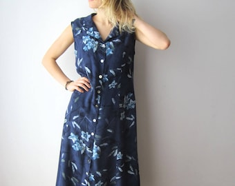Vintage Maxi Dress Blue Large Size Dress Flowers Print Sleeveless Dress 90s Summer Romantic Dress Grandmother Dress