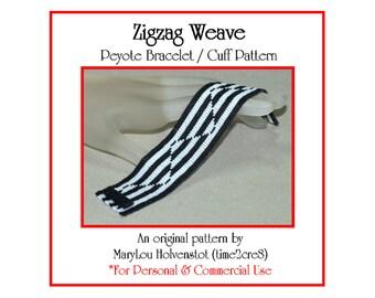 Peyote Pattern ... ZIGZAG WEAVE ... Bracelet Pattern . Geometric . Tutorial . Instruction . Graph . Original . Two Color Design . Three Drop
