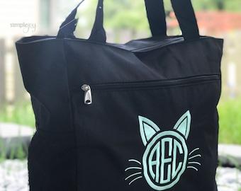 Cat Lover Gift, Cat Bag, Canvas Tote Bag, Monogram Tote, Personalized Cat Lover Gift, Monogrammed Tote Bag, Beach Bag, Chevron Tote Bag