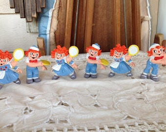 Lot of Six 1981 Raggedy Ann & Andy Miniatures