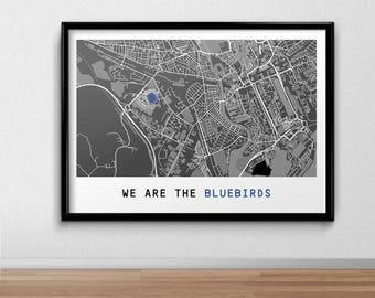 Cardiff Football Poster, Football Poster, Football Print, gift, Map Print,  Present