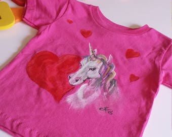 Valentine's Unicorn - 18-24 Months Infant T-Shirt - Creations of Grace Cotton Hot Pink T-Shirt - Fun Based Child's Shirt - Small Beans Wear