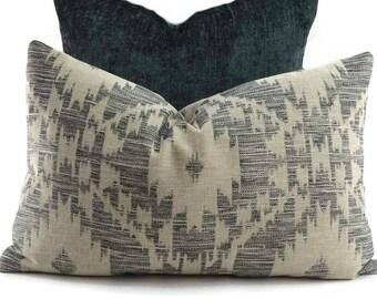 Gray, Black & Tan Woven Ikat Lumbar Throw Pillow Cover, 14x22, Southwest Design Lumbar Pillow
