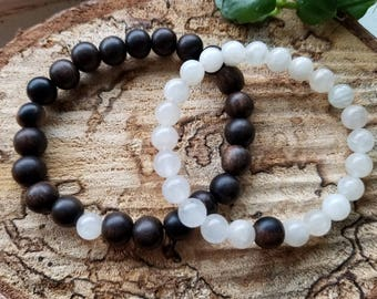 Couples or Friendship Bracelet Set with Tiger Ebony Wood and Moonstone.