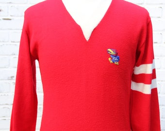 60's Vintage KANSAS JAYHAWKS Varsity V-Neck Sweater College Wear by Gepner Lawrence Kansas Rock Chalk Size Medium