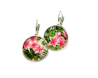 Stud Earrings round tropical flowers