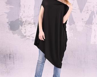 Loose Tunic, Sale,Asymmetric black tunic, short sleeves top, long tunic, tunic top, wide tunic, free tunic, oversize tunic,urbanmood,UM041VL