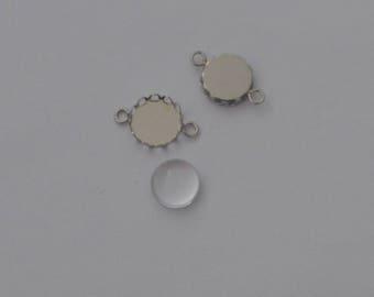 20 pieces: 10 connectors Platinum wave pendant + 10 cabochon 12mm - Ref: SPP 606