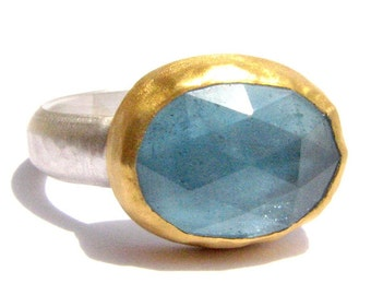 Blue Topaz Ring - Rose Cut Ring - 24k Solid Gold and Silver Ring - Gemstone Ring - Bezel Set Ring.