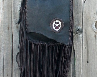 Crossbody bag with beaded wolf totem , Fringed crossbody handbag