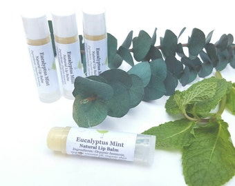 Eucalyptus Mint Lip Balm, Natural Lip Balm, Organic Lip Balm, Tube Lip Balm, Lip Soother, Stick Balm, Gift for Her, Beauty Gift, Spa Gift