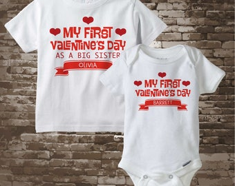 Valentine's Big Sister Outfit set - Matching Sibling Set of 2 - Kids Matching Outfits - My First Valentine's Day 01302017b