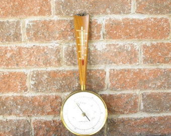 Vintage Barometer, Airguide Barometer, Barometer Thermometer, Brass And Wood Barometer, Weather Station, Temperature Gauge, Temperature