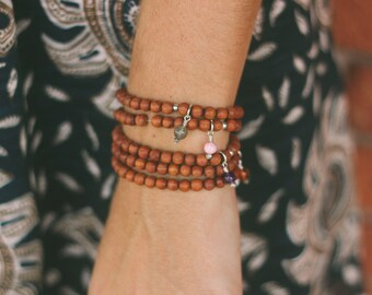 Aura Mala - mala inspired bracelet with warm light brown wooden beads and gemstone or moon charm