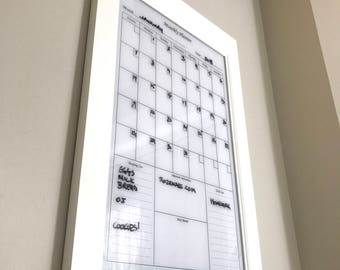 Modern Style White Dry Erase Calendar Planner Family Planner Kitchen or Home Decor Office Organizer with shelf and key hooks