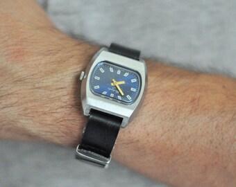 "Soviet watch  ""RAKETA"" Russian watch Men watch Mechanical watch, classic watch, minimal watch, blue watch"