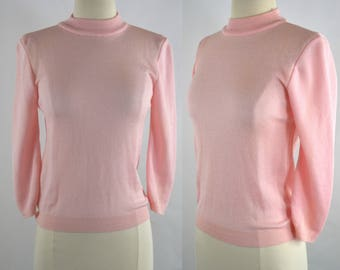 1960s Pink Three Quarter Sleeve Mock Turtle Neck Pullover Sweater by Antron